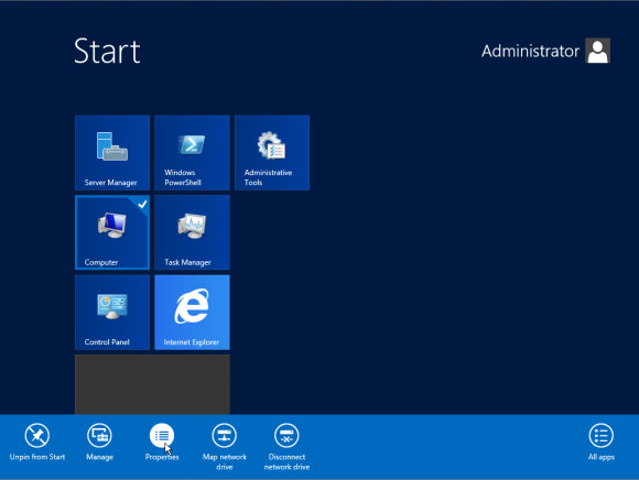Windows Server 2012 Start Page