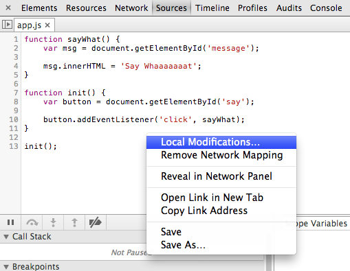 Local modification option to show code revision