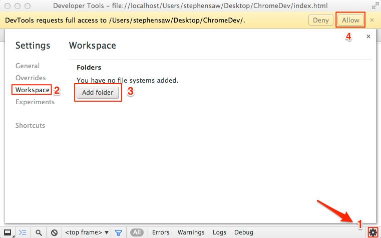 Add folder to workspace in DevTools setting