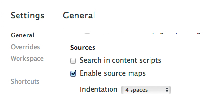 Source maps settings in DevTools