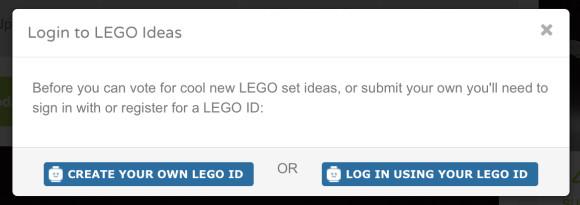 Lego Ideas Create or Login Lego ID