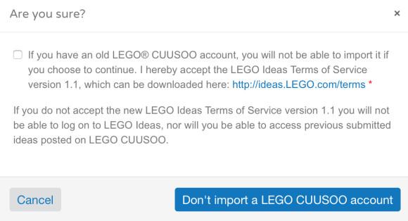 Lego Ideas Cuusso Account Confirm Dialog