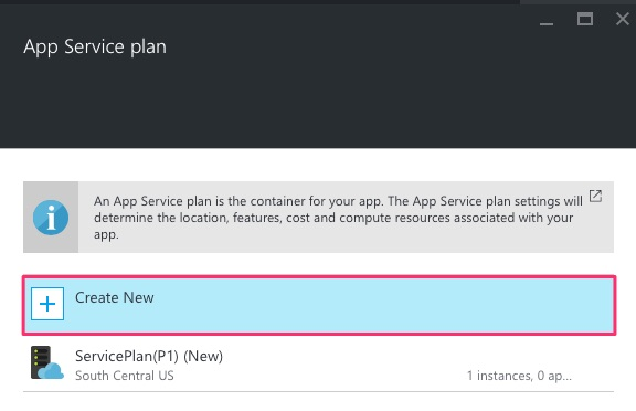 Create new App Service plan