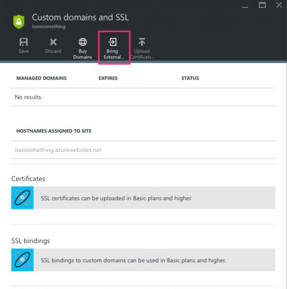 Azure - Custom domains and SSL