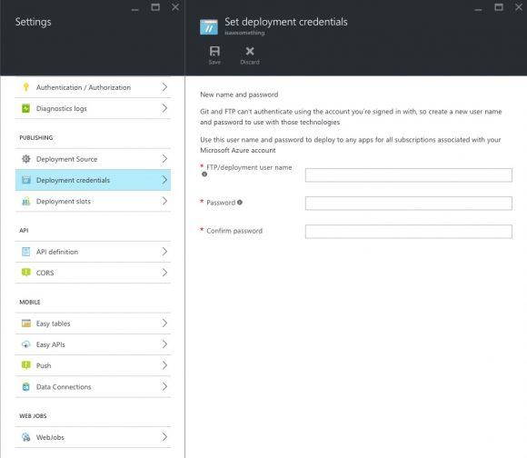 Azure - Set deployment details