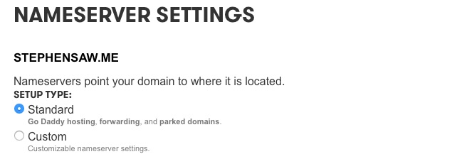 GoDaddy - nameserver settings