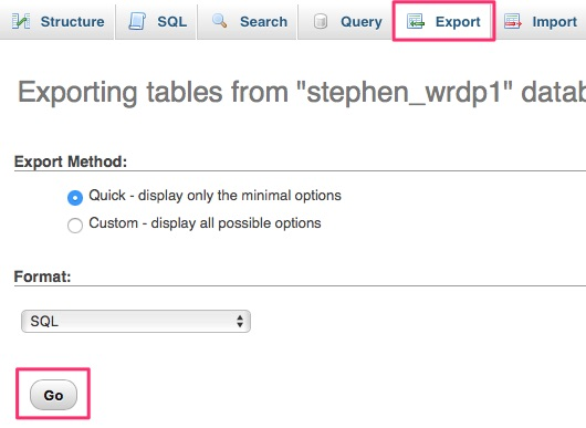 PhpMyAdmin export database