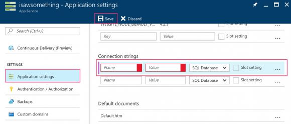 Setting application setting's connection string
