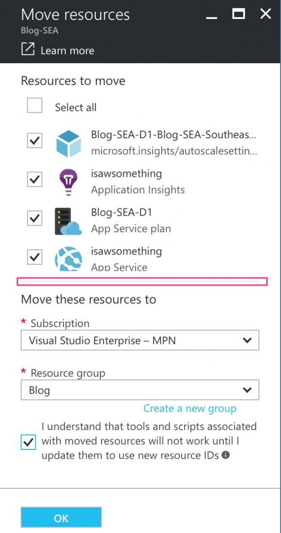 Moving resources in Azure