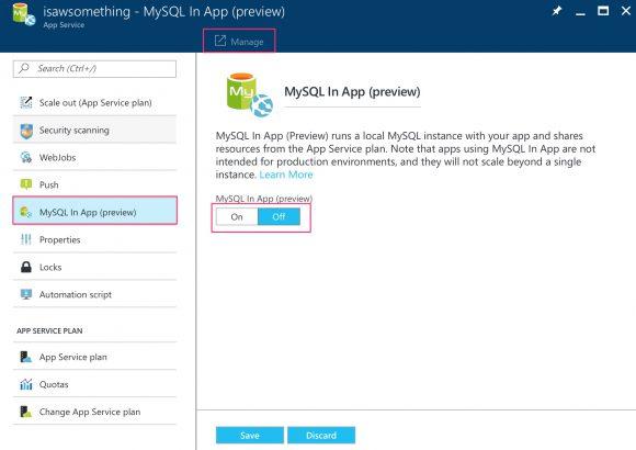 Azure MySQL in-app feature