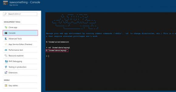Azure portal's console